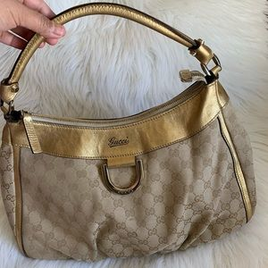 Gucci Canvas D Ring Hobo Bag